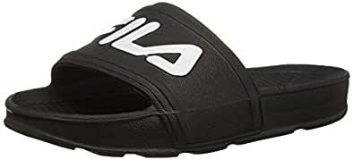 Fila Unisex Sleek Slide Sandal, Black White, 11 Medium US Big Kid