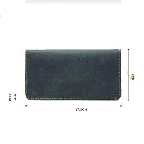 Crazy Sac Casual À Leather Bleu Main Téléphone Portefeuille Long Retro Cadeau Vacances Portable De Clutch En Hommes Pour Cuir 4YFqP