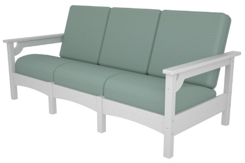 (POLYWOOD PWCLC71WH-5413 Club Sofa, White/Spa)