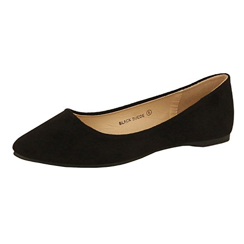 Image of Guilty Shoes Womens Classic Pointy Toe Ballet Slip On - Casual Comfortable Flats