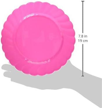 Amscan ブライトプレミアムプラスチックスカラップ子供用パーティープレート ピンク