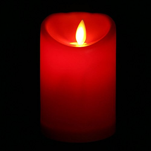 Unigds Romantic Electronic LED Flameless Carve Swing Flickering Simulation Candle Light (Red, 7.510.5cm)