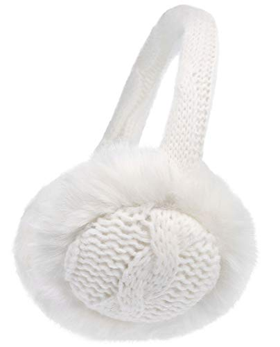 Foldable Earwarmers Warm Fuzzy Faux Fur Lined Foldable Winter Ear Muffs,White
