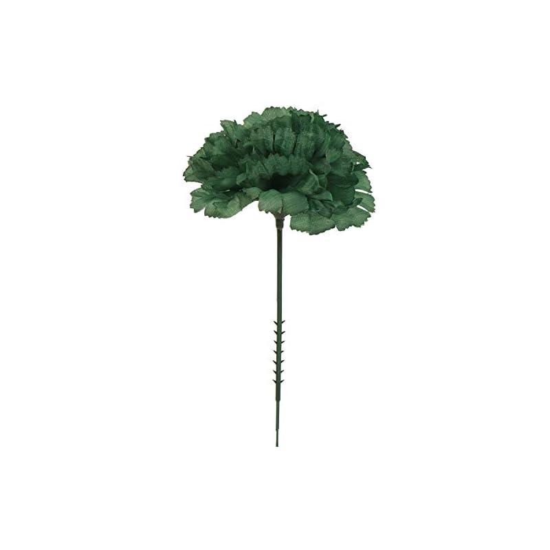 "silk flower arrangements larksilk emerald green silk carnation picks, artificial flowers for weddings, decorations, diy decor, 100 count bulk, 3.5"" carnation heads with 5"" stems"
