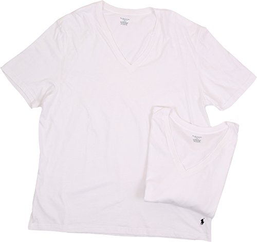 Polo Ralph Lauren Big and Tall V-Neck T-Shirt 2-Pack, XL, White Basic Mens Polo Shirt