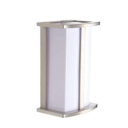 "LJ OutDoor Light Wall Sconce 4215 Stainless Steel Modern Design Outdoor 10"" Rectangular Wall Mount Pocket Lantern Yard Bathroom Kitchen Fixture Metal frame+Acrylic housing"