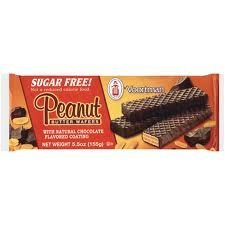 Voortman Sugar Free Peanut Butter Wafers with Natural Chocolate Flavored Coating (2 Packs of 15 Wafers)