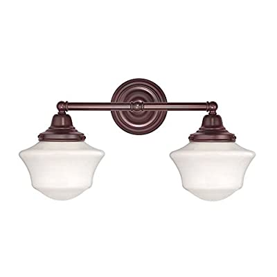 Schoolhouse Bathroom Light with Two Lights in Bronze Finish