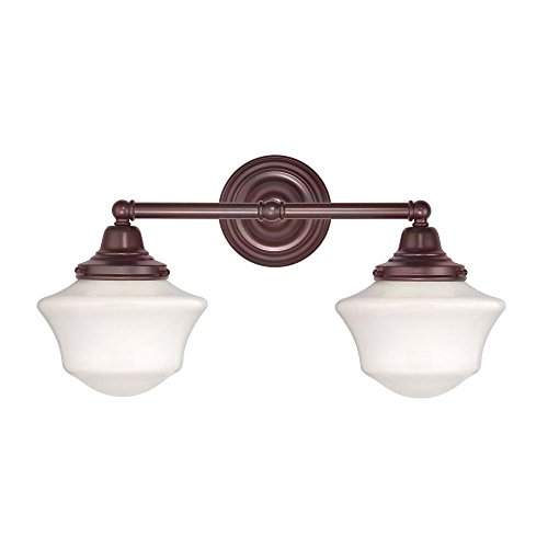 Ellington Bathroom Lighting - Schoolhouse Bathroom Light with Two Lights in Bronze Finish