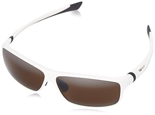 Tag Heuer 27 Degree 6024 107 6024107 Polarized Rectangular Sunglasses, Black Shiny & White High, 66 - Polarized Sunglasses Tag Heuer
