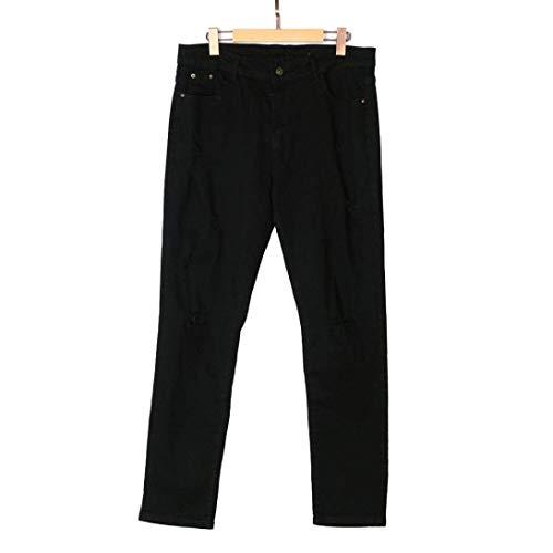 Chern Jogging Jeans Pantaloni Fit Denim Estivi Strappati Fori Sottili Slim Neri Biker Uomo Con Stretch Ragazzo Nero 70x0Tq