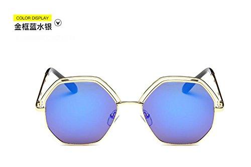 de doble mercury blue círculo GLSYJ gafas sol Hueco gafas box gafas sol moda de Gold gran señoras de LSHGYJ sol 1qPIHwq