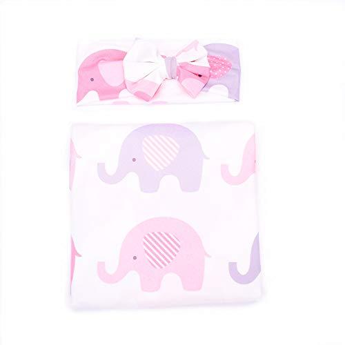 Wrap Elephant Image - Baby Sleep Swaddle Blanket Large and Bow Headband Set Ananas Fox Flower Elephant Print Swaddle Blanket 47 inch X 47 inch