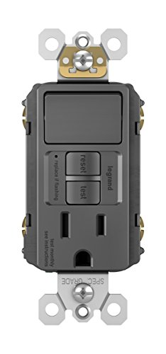 Pass & Seymour 1597SWTTRBKCCD4 FBA radiant 1597SWTTRBKCC4 15 Amp Combination Self-Test Tamper-Resistant GFCI Safety Outlet/Single Pole Switch, Wallplate Included, Black (Tamper Resistant Switch)