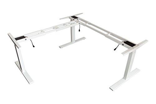Adjustable Steel Frame (lihidesk LJ301 3-Leg L Shaped Electric Height Adjustable Standing Corner Desk Frame Only W/Triple Motor, Ergonomic Sit Stand up Height Adjustable Steel Base Digital Memory Keypad (White))