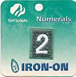 scout numbers - Girl Scouts Numerals: IRON ON PATCH (Number #2 Only - Light Green Color)