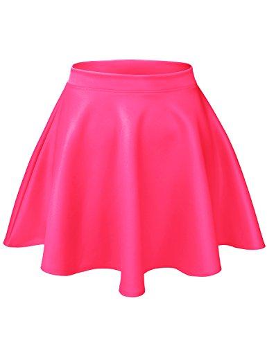 Luna Flower Women's Basic Versatile Stretchy Flared Casual Mini Skater Skirt NEON_Fuchsia Large (GSKW001)