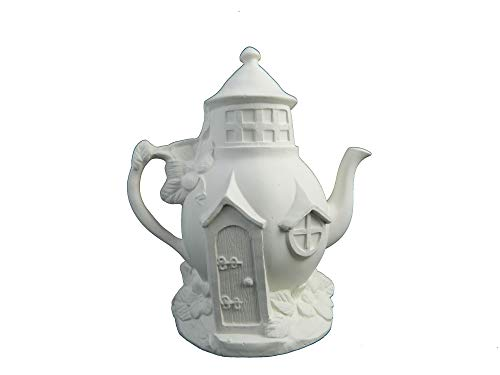 Teapot Fairy House - Fairy Cottage Ready to Paint (Unpainted) Ceramic Bisque by Doc Holliday - Handcrafted in The USA