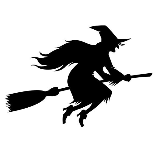 Witch on a Broom Halloween Themed Decal - 5.5
