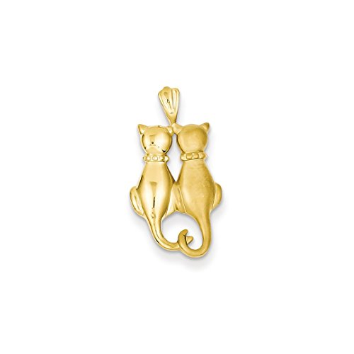 14k Yellow Gold Cats Pendant Charm Necklace Animal Cat Fine Jewelry For Women Gift Set (Yellow Charm Gold Cat)