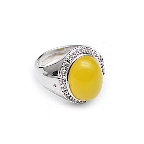 Buty-Bzi Natural Yellow Agate Oval Shape Cabochon Rings for Woman and Man Unisex Jewelry (Yellow)