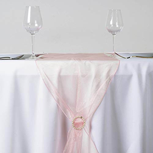 Efavormart Blush Premium Organza Table Top Runner for Weddings Birthday Party Banquets Decor Fit Rectangle and Round Table by Efavormart.com (Image #1)