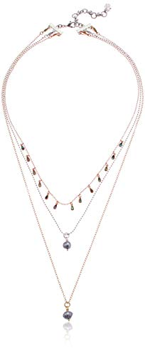 Lucky Brand Women's Tahitian Pearl Lucky Layer Necklace, Two Tone, One Size