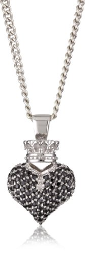 King Baby Crowned Heart Large 3D Black Pave Cubic Zirconia Pendant Necklace