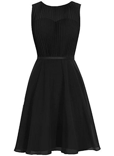 Capot En Mousseline De Soie Sans Manches Cdress Courte Robes De Demoiselle D'honneur Robes De Fête De Bal De Mariage Noir