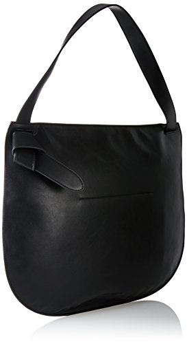 French Connection Damen Clean Minimalism Reva Dumpling Schultertasche, Mehrfarbig (Black/Shiny Silver), 10x36x43 cm