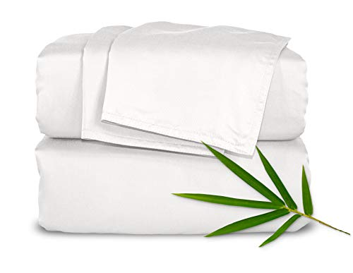 White 100% Bamboo - Pure Bamboo Sheets - King Size Bed Sheets 4-pc Set - 100% Organic Bamboo - Incredibly Soft - Fits Up to 16
