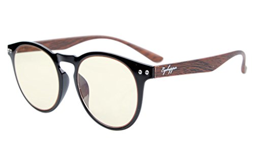 Eyekepper Retro Vintage Flex Lightweight Plastic Round Frame Computer Glasses Readers Eyeglasses (Black Frame-Wood Arms, Yellow Tinted Lenses) ()