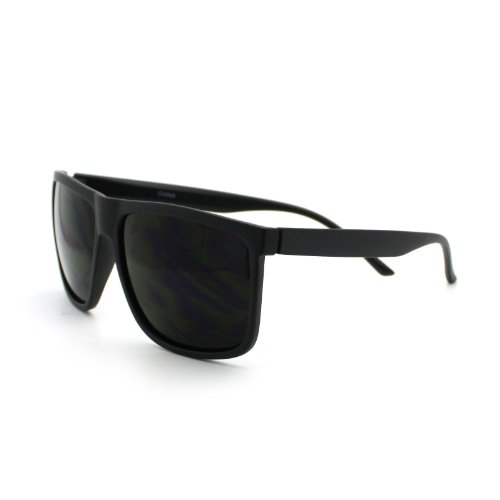 8d33158fe9 Amazon.com  Super Dark Black Lens Men s Sunglasses Classic Square Frame  Black  Clothing