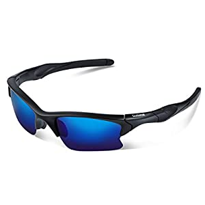 Duduma Polarized Sports Sunglasses for Men Women Baseball Fishing Golf Running Cycling Driving Softball Hiking Floating Unbreakable Shades Tr566(Matte black frame, Blue lens)