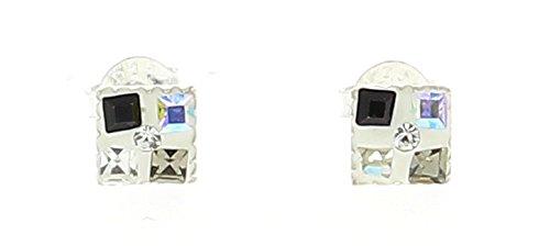 Bijoux Irina - Puces Carré Damier Noir & Blanc en Argent & Swarovski Eléments