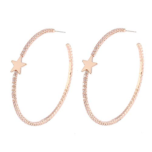 (YILIBAO Hoop Earring Round Cubic Zirconia Star Heart and Butterfly for Women and Girls,925 Silver Needles (Star Rose Gold))