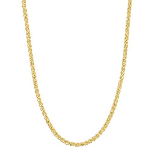 - 14k Solid Yellow Gold Round Wheat Spiga Chain (1.7mm, 16 inch)