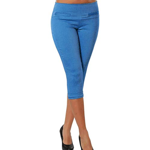 Realdo Clearance Sale Plus Size Solid Pocket Casual Stretchy Pants Cropped Calf-Length Trousers(XXXXX-Large,Blue)