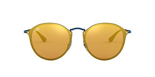 Ray-Ban RB3574N Blaze Round Sunglasses, Blue/Dark Orange Gold Mirror, 59 mm