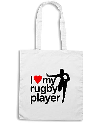 Borsa Shopper Bianca TRUG0017 I LOVE MY RUGBY PLAYER