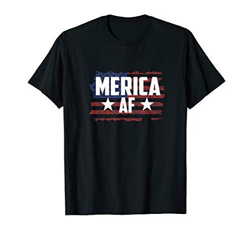 Merica Women Tops For Men 4th Of July Merica AF T Shirt