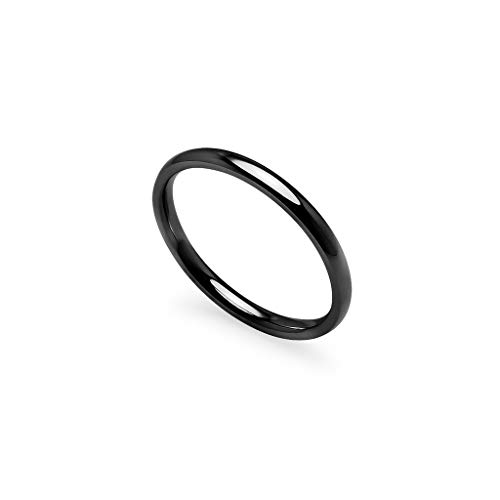 IJewel - Stackable Wedding Bands | 2mm Ring in Stainless Steel Black Tone Size 7.5