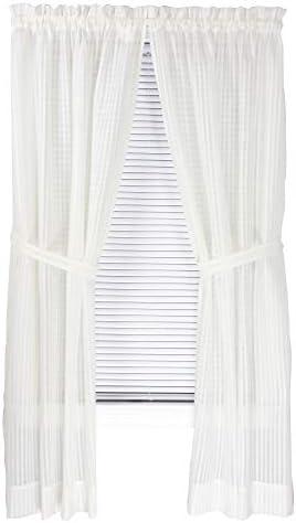 Bay Breeze Semi Sheer Stripe Curtain Panel Pair 72 W x 63 L