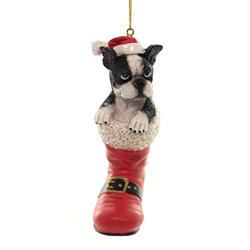 Holiday Ornaments Dog in Santa Boot Polyresin Boston Terrier D3696 K (Boston Accent Boots)