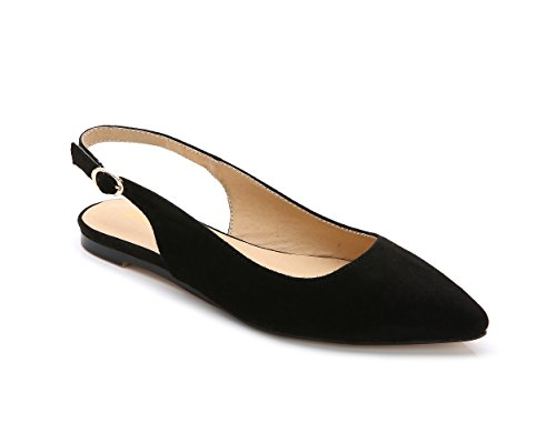 ComeShun Womens Sexy Pointed Closed Toe Flats Comfortable Black Slingback Suede Pumps Size 9 by ComeShun