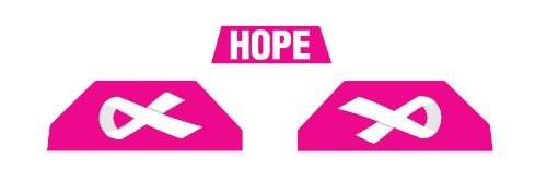 Stickers for Under Armour Visor, Hard Hitting No Quitting (Breast Cancer - Hot Pink & White)