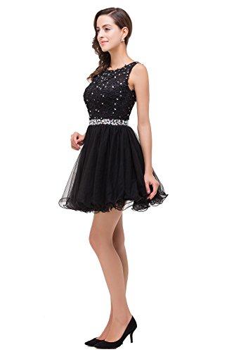 Prinzessin A Schmucksteinen 32 MisShow Bestickte Damen Abendkleid 46 Gr KnieKnielang Spitzenkleid Ballkleid Linie Schwarz mit a54gw4xq