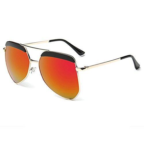 Aviator Femmes Rouge Frame Objectif Gold Retro Lunettes QHGstore Métal Unisexe Sunglasses Vintage Miroir Hommes BaR15I