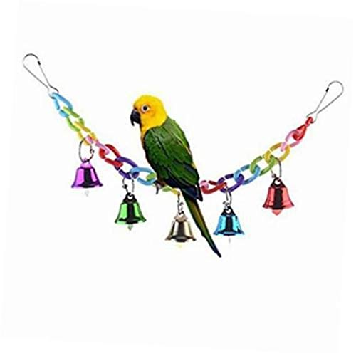 (♛Euone Bird Bells Swing Toy ♛Clearance♛, Colorful Mountaineering Swing Toy with Bird Parrot African Grey Macaw Love Bird)