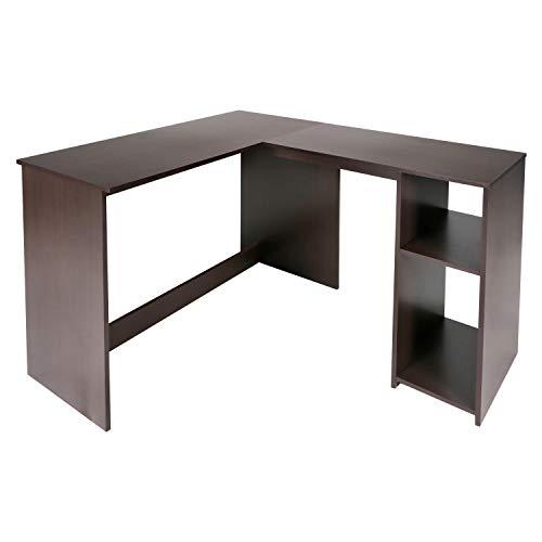 Homy Casa L-Shaped Desk with Bookshelves, DARK BROWN